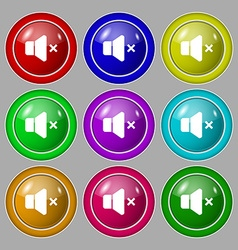 No Volume icon sign symbol on nine round colourful vector