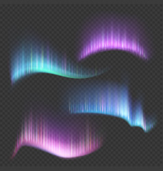 Northern aurora lights strips isolated vector