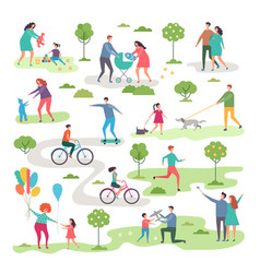 outdoor activism in urban park bicycle riders and vector image