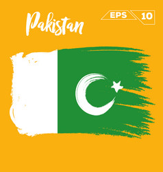 pakistan flag brush strokes painted vector image