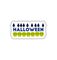 Paper sticker on background of candle halloween vector