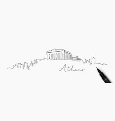 pen line silhouette athens vector image