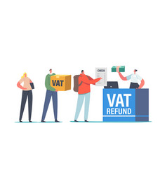 People standing at airport value added tax refund vector