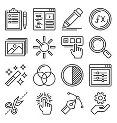 photo and video editor icons set vector image