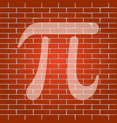 Pi greek letter sign whitish icon on vector