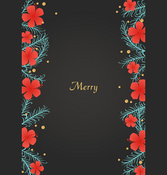 Pine leaves and red hibiscus flower on background vector