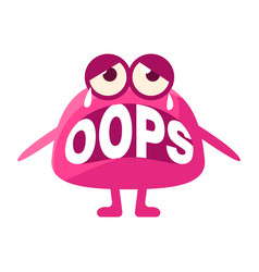 Pink blob saying oops cute emoji character vector