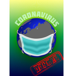 Planet earth in a medical mask vector
