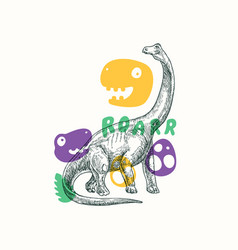 prehistoric dinosaur abstract sign symbol or card vector image