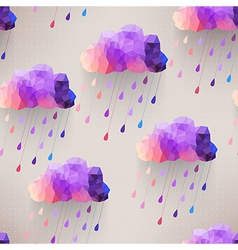 Retro cloud seamless pattern with rain symbol vector image