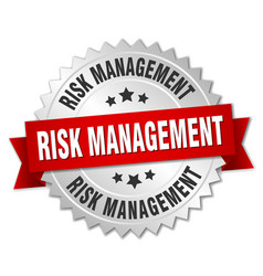 risk management round isolated silver badge vector image vector image