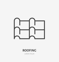 Roofing flat line icon of metal tile vector