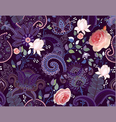 Roses pattern paisley and roses colorful vector