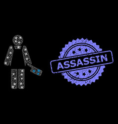 Scratched assassin stamp and bright web mesh vector