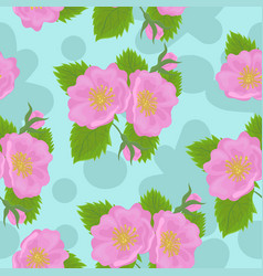 seamless pattern with wild rose flowers vector image