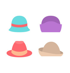 set of female hats summer spring autumn mode icons vector image
