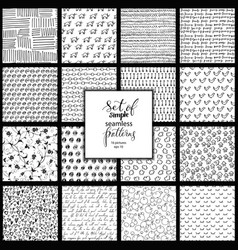 set of hand drawn simple black and white texture vector image vector image