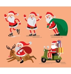 Set of Santa Claus and deer vector