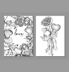 set two banners with floral frame and bouquet vector image
