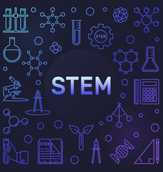 Stem colored concept frame in thin line vector
