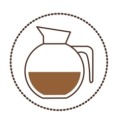 Sticker circular shape glass jar of coffee with vector