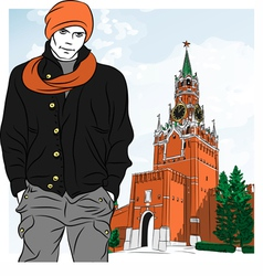 Stylish guy in Moscow vector
