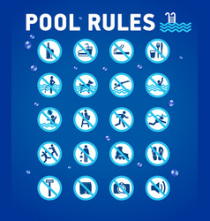 swimming pool rules on blue with desihn elements vector image