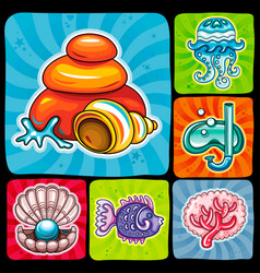 swirl vacation icon or sticker set tropical fish vector image