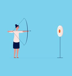 target goal business woman shooting with bow and vector image