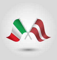 two crossed italian and latvian flags vector image