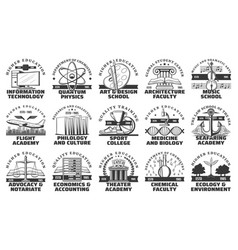 University college and academy icons vector