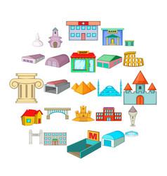 urban sprawl icons set cartoon style vector image