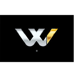 W silver gold letter alphabet logo icon design vector