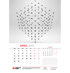 wall calendar template for april 2019 with vector image