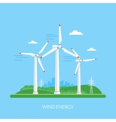 Wind power plant and factory Turbines Green vector