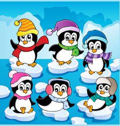 Winter theme with penguins 2 vector