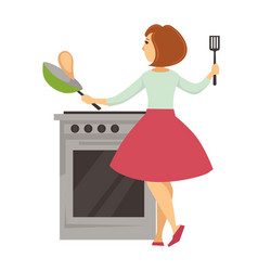 Woman cooking pancakes housewife with pan and vector