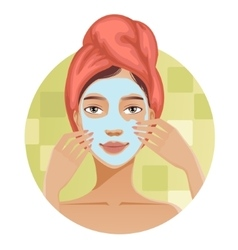 Woman with a towel puts a mask on her face vector