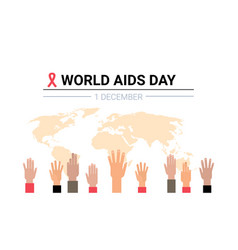 world aids day awareness red ribbon sign mix race vector image