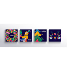 year colorful nordic art card set vector image