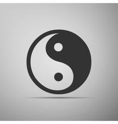 Yin yang symbol icon on grey background vector