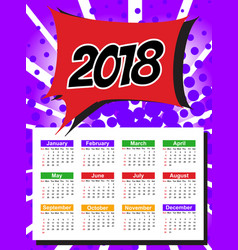 calendar template for 2018 with week starts sunday vector image