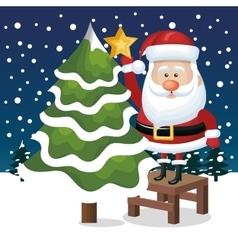 card santa claus tree star snowfall graphic vector image vector image