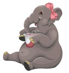 Elephant eats yogurt vector