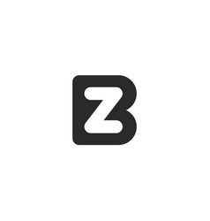 monogram logo made from black letters b and z or n vector image