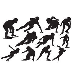 Speed skating silhouette vector image