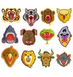 animals portrait heads with open mouth of vector image