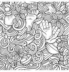 Cartoon cute doodles spa massage seamless pattern vector