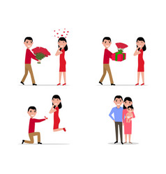 cartoon stage set creating a happy family vector image vector image