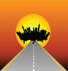 city and road vector image